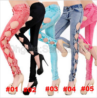 Wholesale 1piece Sexy Low Waist Jeans Women s Fashion Hollow Out Bowknot Skinny Bow Pencil For Lady