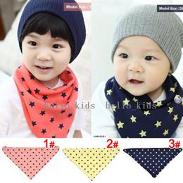 Baby 2-Layer Cotton Bibs Toddler Reversible Bandit Bandana Dribble Baby 5 Star Triangled Bibs 3Color