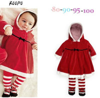 Wholesale Christmas Baby Girls Hooded Cloak Red Dress Smock Infant Toddlers Children s One Piece Dress Autumn Winter Outerwear Garments