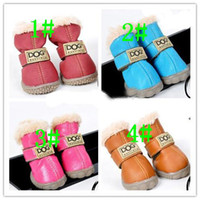 Wholesale Hot sales PU leather pet dog puppy winter snow warm boot shoes mixed colors sets