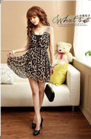 Wholesale Women s clothing sex appeal carving Leopard print Chiffon Dress