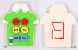 Wholesale Children s Educational Toys Wear plate wooden blocks CM Basswood plywood Sewing thread