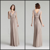 Reference Images V-Neck Chiffon Top selling V neck Sheath Full length chiffon Long sleeves Lace look Elegant mother of the bride dress Long evening dress Party Plus size