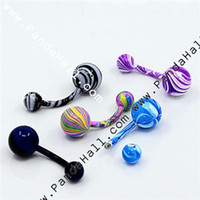 Wholesale Fashionable Stainless Steel Belly Rings Spray Paint Mixed Color x8mm Pin mm