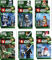 Multicolor PVC Figure Star Wars Yoda Sith Trooper Admiral Ackbar Building Blocks Minifigure Legoland Model DIY Bricks Toys Figures 6pcs lot OTFG036