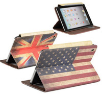 Wholesale UK and US Flag Vintage Attractions Retro Design Leather Case Cover Stand For Apple iPad Air iPad Mini Retina iPad