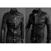 Jackets Men Faux Leather S5Q Men's Slim Fit Top Designed Sexy PU Leather Short Jacket Coat Long Sleeve AAACMZ