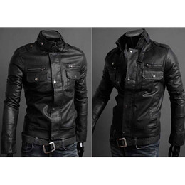 Wholesale S5Q Men s Slim Fit Top Designed Sexy PU Leather Short Jacket Coat Long Sleeve AAACMZ