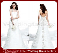A-Line beads motif - Beading Halter Top Beach Wedding Dresses Pleated Organza Bridal Gowns with Beaded Motif Along the Back Skirt