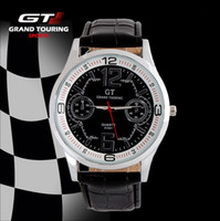 Wholesale Hight Quality GT Racers Watch Japen Movement Sport Men Wristwatch Leather Casual Watch white black brown watch band youmyelectec1688