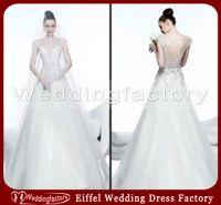 A-Line islamic wedding dress - A Line Islamic Wedding Dress Bateau Floor Length Bridal Dresses with Embroidery and See Through Back
