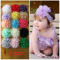 flower chiffon Solid 4inch big Chiffon Flower without clips Lace flowers 16colors pick girls hair accessories 50pcs lot drop shipping