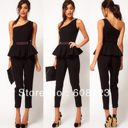 Wholesale british style ladies waist beaded jumpsuit one shoulder top skirted hem with nine minutes of pants jump suit in black for women