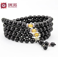 Charm Bracelets Natural crystal / semi-precious stones Tourmaline Men bracelet beads bracelets 108 black tourmaline crystal multilayer female Moreno original handmade jewelry tourmaline