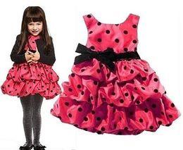2014 New Arrival Polka Dot Girl's Dress Bowties Princess dresses Children's Sleeveless dress Hot Red LFF