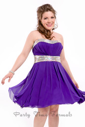 Wholesale Purple Mini Homecoming Cocktail Gowns Fast Shipping Strapless A line Short Chiffon Beaded Waist Plus Size Party Dress Custom made