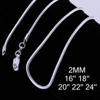 Wholesale Retail Sterling Silver MM Smooth Snake Chain Necklace fit DIY Pendant Necklace quot quot quot quot quot Can Mix Size C010