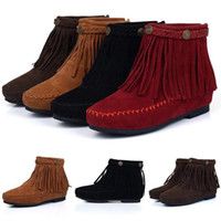 Ankle Boots Tassel Boots Women New Boho Flat Fringed Faux Suede Ankle Boots Booties Oxfords Moccasin Brown P107 smileseller