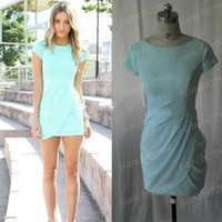 Wholesale 2014 Spring Light Blue Prom Gown Crew Neckline Zipper Back Short T shirt Sleeve Pick ups Mini Chiffon Sheath Cocktail Dress