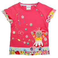 Wholesale KF1011 Nova kids wear m y Baby girls T shirts cartoon clothing in the night garden embroidery cotton floral hem slamon red summer tops