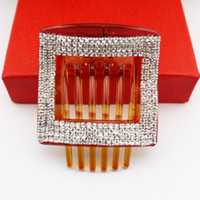 Wholesale Classical Korean Crystal Hair Clip Coffee Square Plastic Hair Comb Claws Hair Jewelry Girl s Fashion Hair Accessories VHJ