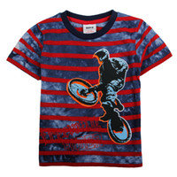 Wholesale C2488 Nova kids clothes m y childen boys t shirts Freeway rider bicycle cotton short sleeve stripe tees summer tops cute baby clothing