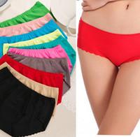 Wholesale Europe fashion women ladies sexy seamless panties fluorescent multicolor comfort cotton silk briefs underwears t5827