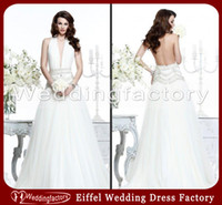 Wholesale Sexy Wedding Dresses for Mature Women A Line Halter Backless Prom Gowns with Indian Style Beads