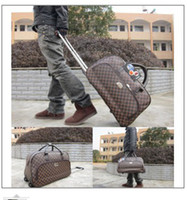 Wholesale Brown grid tie rod travel bag