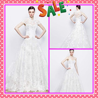 Wholesale 2014 New Sheer Back A Line Bridal Wedding Dresses Fashionable High Neck Short Sleeves Jacket Full Applique Beads Organza Dress Bridal Gowns