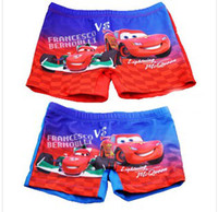 Boy Swim Trunks 3T-4T Kids Boy Car Children Swimming Trunks Flat Foot Bathing Trunks Boy Swimming Shorts Cartoon Car Red Swimming Shorts FREESHIPPING