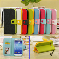 Wholesale Contrast Color Mobile Phone Leather Case Covers For Samsung Galaxy Mega Mega5 i9152 Flip Shocker Proof Wallet Cases Covers