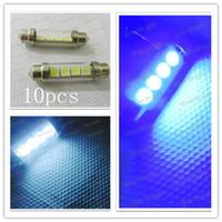 SMD SMT LED Bulbs auto glass dc - 10pcs C5W Dome DC V SMD With Glass LED Car Auto Light Bulbs White Blue color for your option