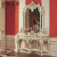 Wholesale italian french antique furniture luxury hand carving cracking paint console table