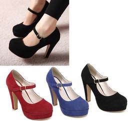 Wholesale Women Sexy Suede Mary Jane Ankle Strap Platform Stilettos Heel Pump Shoes Color