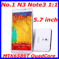 """Android 1G 1280x720 NO.1 N3 MTK6589T Quad Core 1.5GHz Mobile Phone Note 3 1GB RAM 8GB ROM Android 4.2 OS 5.7 """" OGS IPS 13.0MP Camera note 3 N9000 N9006"""