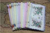 Wholesale New cotton handkerchief one dozen set of handkerchiefs girls children s ladies cotton floral hankies