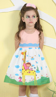 Wholesale 2014 New Giraffe Cartoon Printed Dress Polka Pot Rhinestone Round Neck Sleeveless Cotton Blended Hit Color Children s Summer Dresses
