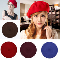 Wholesale Chic Soft Wool Berets Hat Warm Women Pure Color Beret Caps Casual Mix Style Choose DID