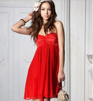 Wholesale Hot Sale Pleated off the shoulder Tube Women Club Party Evening Dress Sexy Red Black