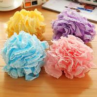 Wholesale Fashion Lace Foam Plastic Bath Ball bathsite Bathroom Suppliers with Four Colors