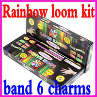 Wholesale 2014 HOT Rainbow Loom Charma kit Magical Colorful Loom Kit Loom Hook Bands Clips Charms Box set bag