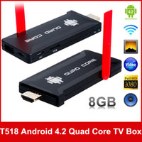 CMMB TV Stick TV Stick Guangdong China (Mainland) T518 Android 4.2 Quad Core RK3188 1.65GHz 8GB Mini PC Android TV Box with Wi-Fi, Bluetooth and HDMI Output (Black)