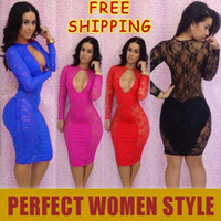 Wholesale 2014 New Fashion Bandage Dress Lace Clubwear Dresses Hollow Sizes Long Sleeve Bodycon Dress Sexy Women Dresses Mix Order