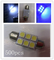 Wholesale 500pcs High quality Festoon SMD LED White Blue Auto Car Festoon SMD LED Licence Plate Light Dome Roof Reading