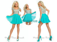 Wholesale A line Sky Blue Cap Sleeve Homecoming Dresses Pleat Rhinestone Crystals Cocktail Dresses Graduation Gowns Short Party Prom Dress