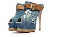 Wholesale 2014 Diamond Cowboy cm Ultra High With Roman Sandals Fish Mouth Shoes Restoring Ancient Ways Denim Pumps Women s Shoes