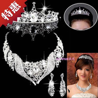 Beaded Necklaces Women's Fashion Wedding dress accessories rhinestone crystal hair accessory set bridal earrings married necklace piece set chain a851