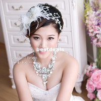 Pendant Necklaces Women's Fashion The bride accessories three pieces set luxury feather rhinestone hair accessory married necklace jewelry wedding accessories