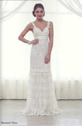 Wholesale Anna Campbell Elizabeth column straps V neck full applique flooring Suitable For cathedral garden beach pregnant Wedding Dresses Bridal Gown